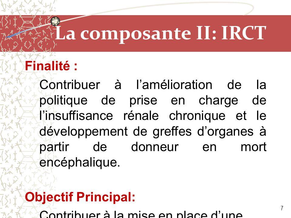 La composante II: IRCT Objectifs Spécifiques : 1.Renforcer le cadre institutionnel et organisationnel du prélèvement et de la greffe d'organes et de tissus humains ; 2.Déployer le registre MAGREDIAL (Maroc Greffe Dialyse) à toutes les régions du Maroc dans les 2 secteurs: public et privé; 3.Poursuivre le développement des greffes rénales et la création des conditions pour l'extension vers d'autres types de greffes.