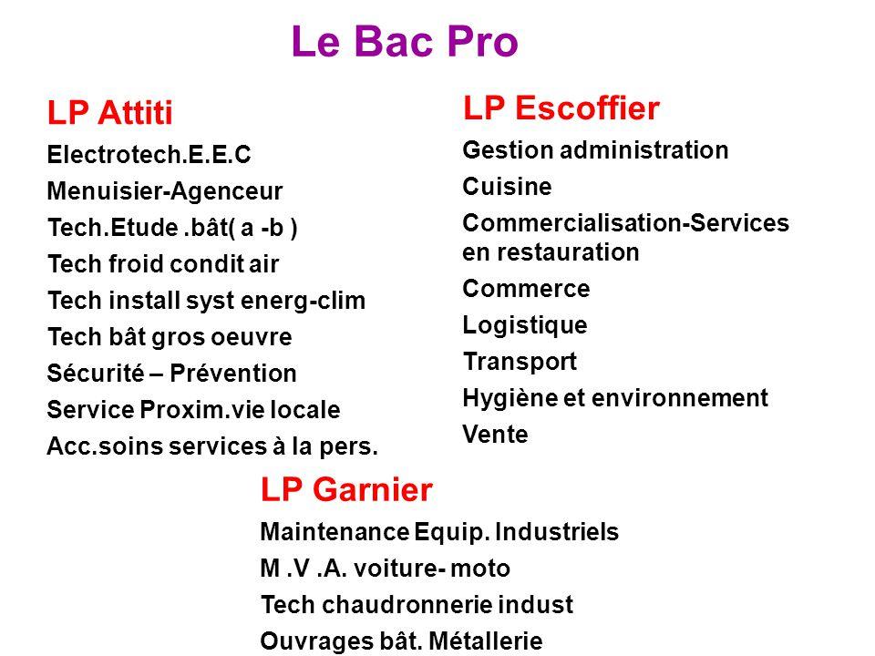 Le Bac Pro LP Attiti Electrotech.E.E.C Menuisier-Agenceur Tech.Etude.bât( a -b ) Tech froid condit air Tech install syst energ-clim Tech bât gros oeuv