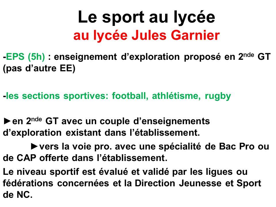 Le sport au lycée au lycée Jules Garnier -EPS (5h) : enseignement d'exploration proposé en 2 nde GT (pas d'autre EE) -les sections sportives: football