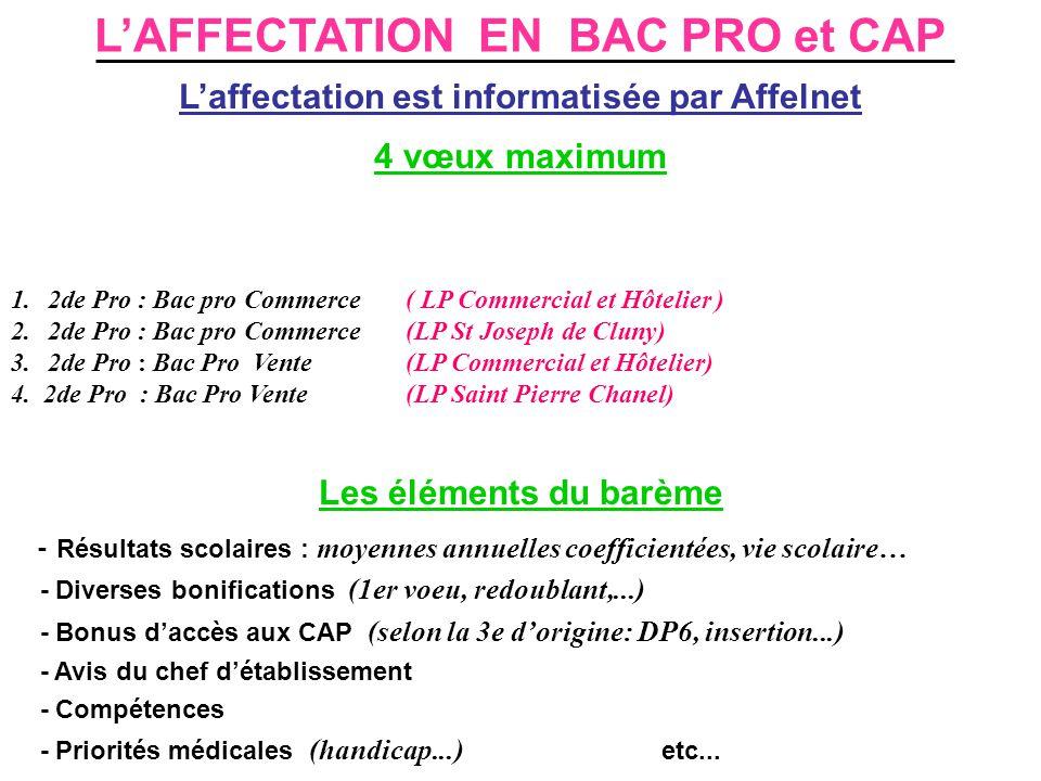 L'AFFECTATION EN BAC PRO et CAP L'affectation est informatisée par Affelnet 4 vœux maximum 1.2de Pro : Bac pro Commerce ( LP Commercial et Hôtelier )