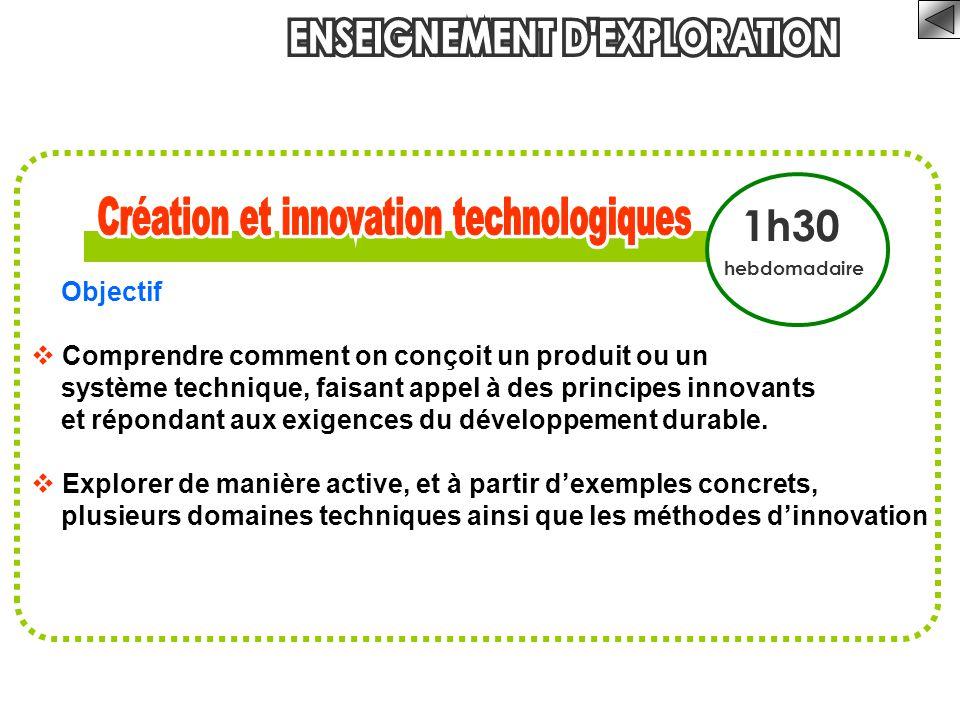 1h30 hebdomadaire Objectif  Comprendre comment on conçoit un produit ou un système technique, faisant appel à des principes innovants et répondant au