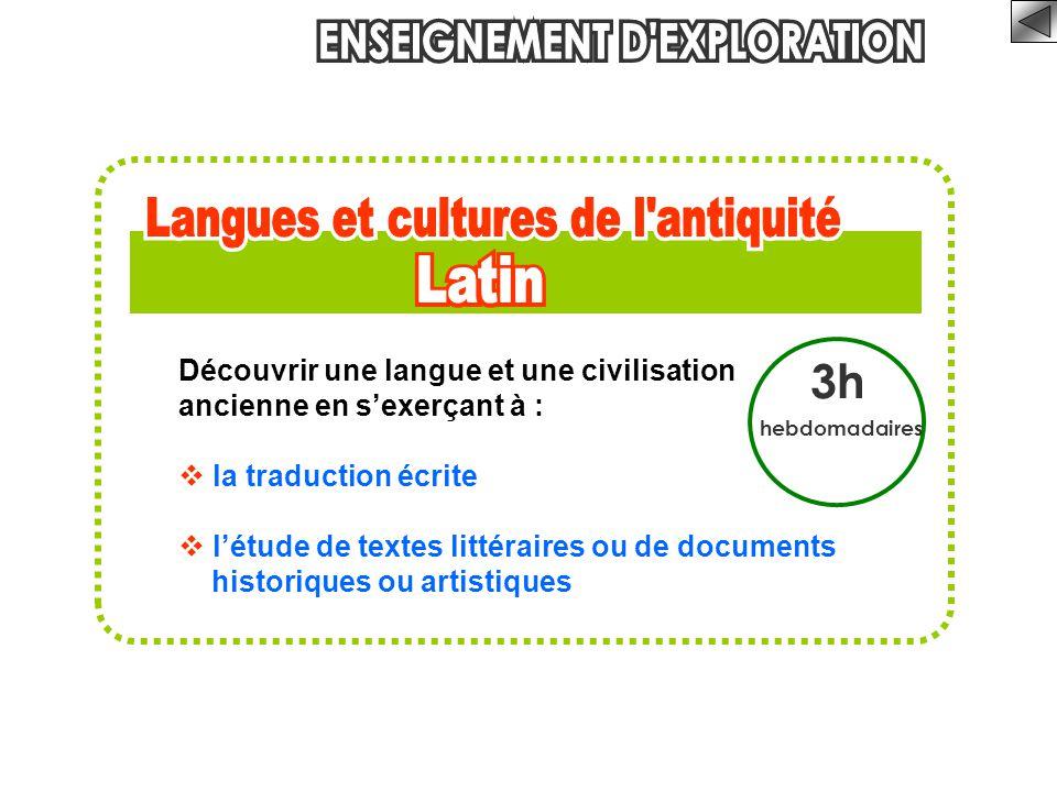 3h hebdomadaires Découvrir une langue et une civilisation ancienne en s'exerçant à :  la traduction écrite  l'étude de textes littéraires ou de docu