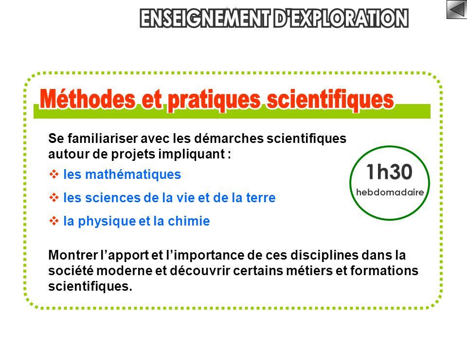 Se familiariser avec les démarches scientifiques autour de projets impliquant :  les mathématiques  les sciences de la vie et de la terre  la physi