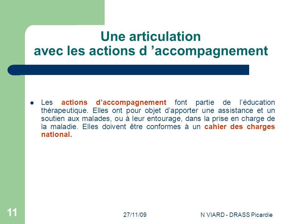 27/11/09N VIARD - DRASS Picardie 11 Une articulation avec les actions d 'accompagnement Les actions d'accompagnement font partie de l'éducation thérap