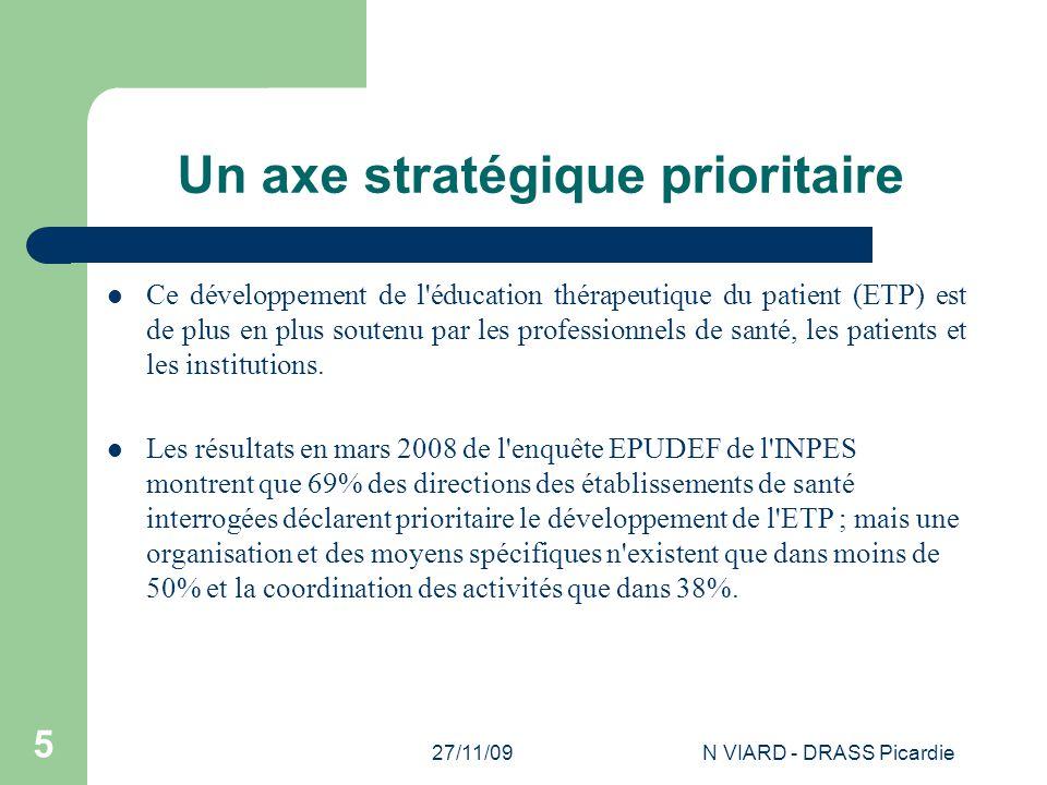 27/11/09N VIARD - DRASS Picardie 5 Un axe stratégique prioritaire Ce développement de l'éducation thérapeutique du patient (ETP) est de plus en plus s