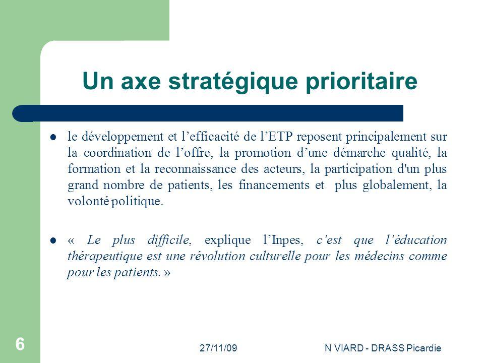 27/11/09N VIARD - DRASS Picardie 6 Un axe stratégique prioritaire le développement et l'efficacité de l'ETP reposent principalement sur la coordinatio