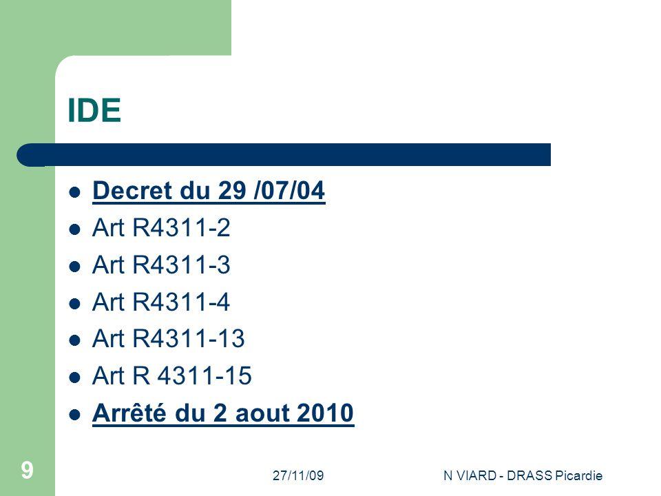 27/11/09N VIARD - DRASS Picardie 9 IDE Decret du 29 /07/04 Art R4311-2 Art R4311-3 Art R4311-4 Art R4311-13 Art R 4311-15 Arrêté du 2 aout 2010