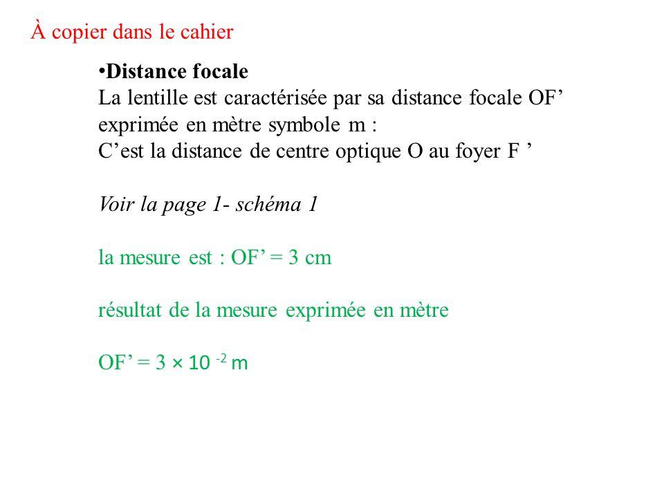 Distance focale La lentille est caractérisée par sa distance focale OF' exprimée en mètre symbole m : C'est la distance de centre optique O au foyer F