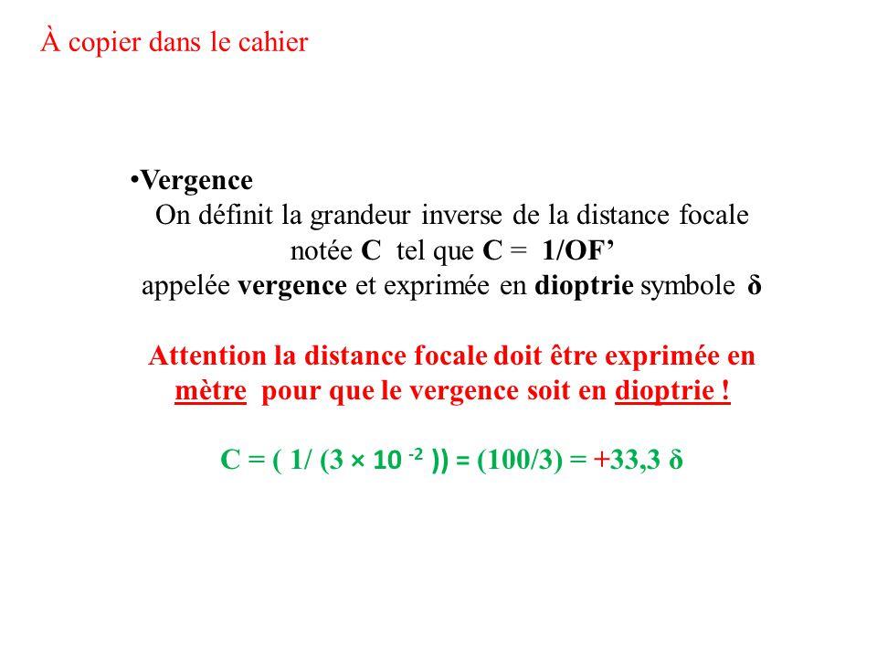 Vergence On définit la grandeur inverse de la distance focale notée C tel que C = 1/OF' appelée vergence et exprimée en dioptrie symbole δ Attention l