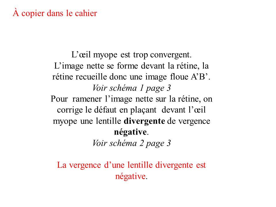 L'œil myope est trop convergent. L'image nette se forme devant la rétine, la rétine recueille donc une image floue A'B'. Voir schéma 1 page 3 Pour ram