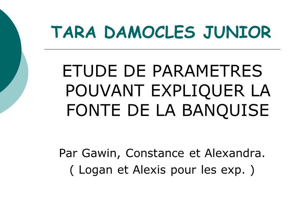 TARA DAMOCLES JUNIOR ETUDE DE PARAMETRES POUVANT EXPLIQUER LA FONTE DE LA BANQUISE Par Gawin, Constance et Alexandra. ( Logan et Alexis pour les exp.