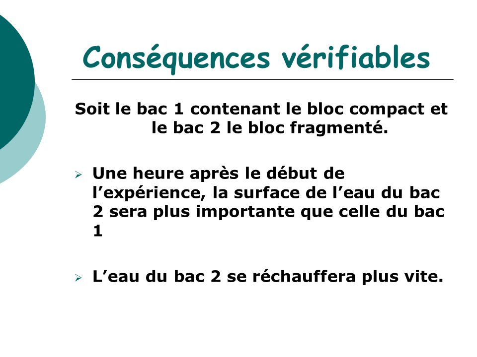 Conséquences vérifiables Soit le bac 1 contenant le bloc compact et le bac 2 le bloc fragmenté.  Une heure après le début de l'expérience, la surface