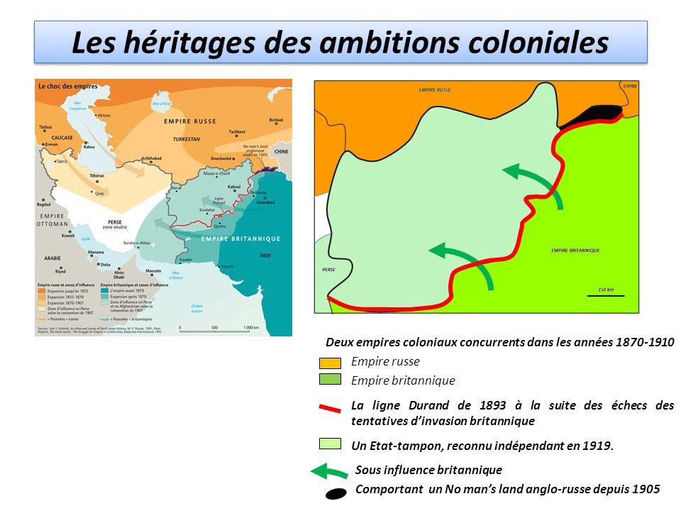 Les héritages des ambitions coloniales Deux empires coloniaux concurrents dans les années 1870-1910 Empire russe Empire britannique La ligne Durand de