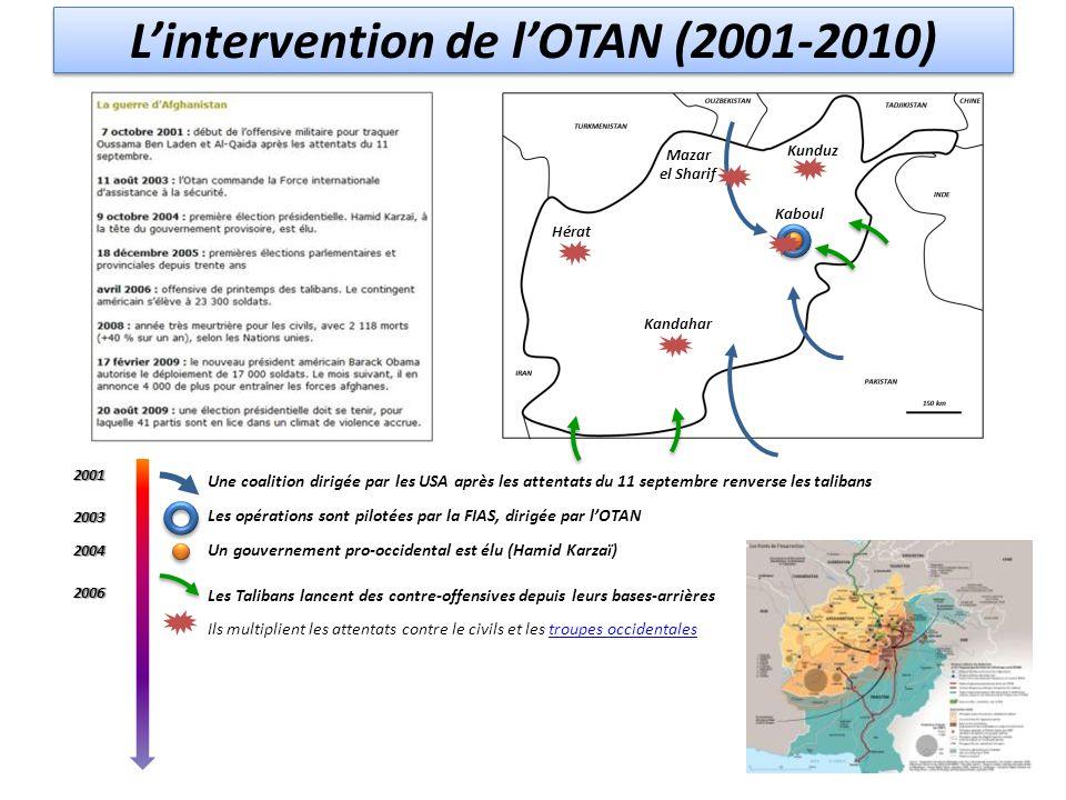 L'intervention de l'OTAN (2001-2010) Une coalition dirigée par les USA après les attentats du 11 septembre renverse les talibans Les opérations sont p