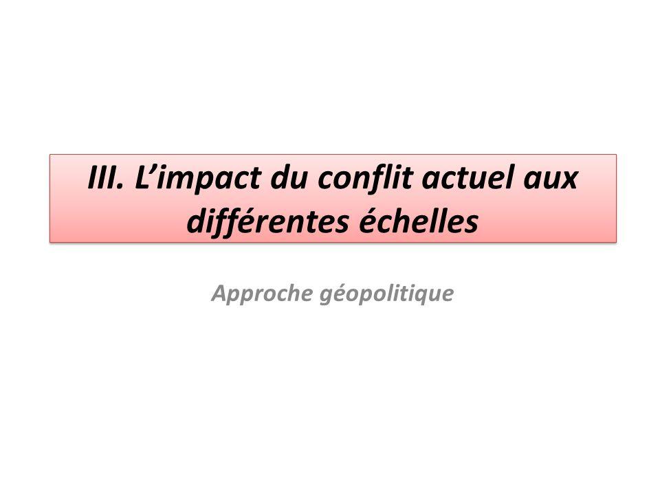 III. L'impact du conflit actuel aux différentes échelles Approche géopolitique