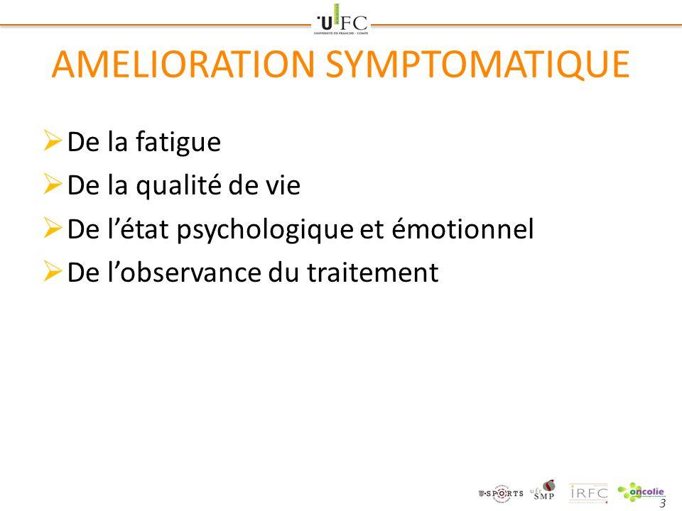 3 AMELIORATION SYMPTOMATIQUE  De la fatigue  De la qualité de vie  De l'état psychologique et émotionnel  De l'observance du traitement