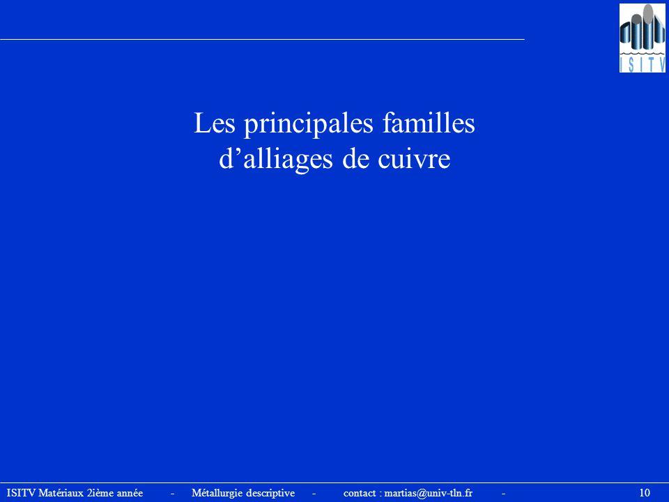 ISITV Matériaux 2ième année - Métallurgie descriptive - contact : martias@univ-tln.fr - 10 Les principales familles d'alliages de cuivre