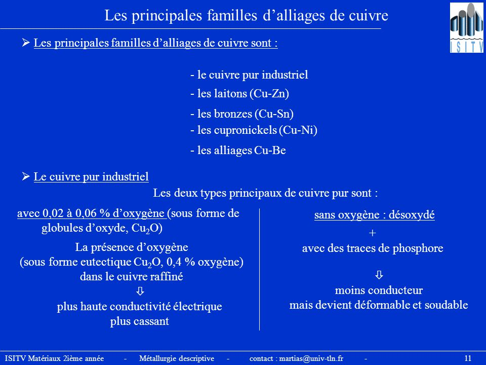 ISITV Matériaux 2ième année - Métallurgie descriptive - contact : martias@univ-tln.fr - 11 Les principales familles d'alliages de cuivre  Les princip