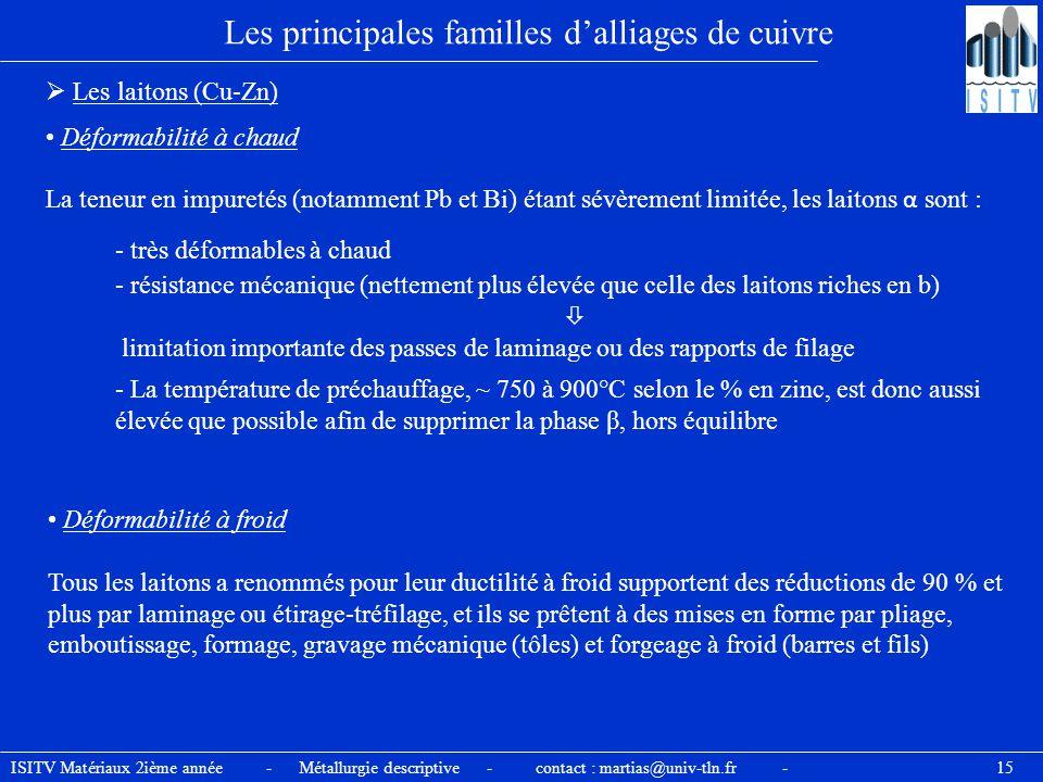ISITV Matériaux 2ième année - Métallurgie descriptive - contact : martias@univ-tln.fr - 15 Les principales familles d'alliages de cuivre  Les laitons