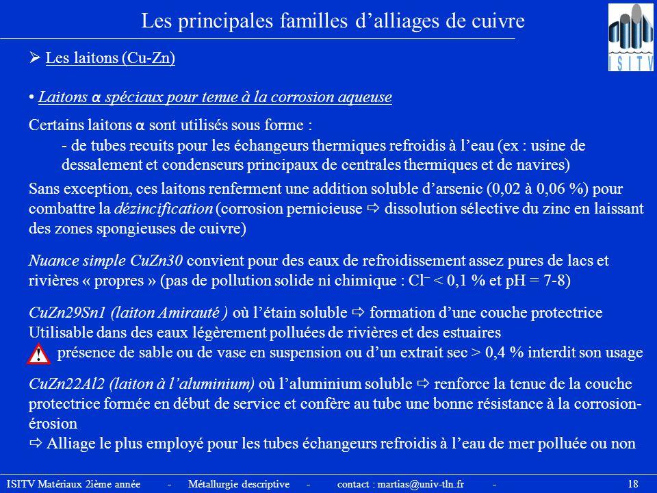 ISITV Matériaux 2ième année - Métallurgie descriptive - contact : martias@univ-tln.fr - 18 Les principales familles d'alliages de cuivre  Les laitons
