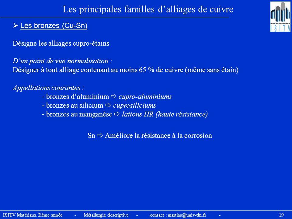 ISITV Matériaux 2ième année - Métallurgie descriptive - contact : martias@univ-tln.fr - 19 Les principales familles d'alliages de cuivre  Les bronzes