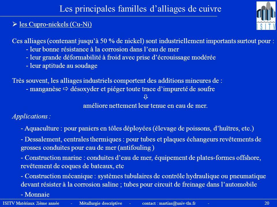 ISITV Matériaux 2ième année - Métallurgie descriptive - contact : martias@univ-tln.fr - 20 Les principales familles d'alliages de cuivre  les Cupro-n