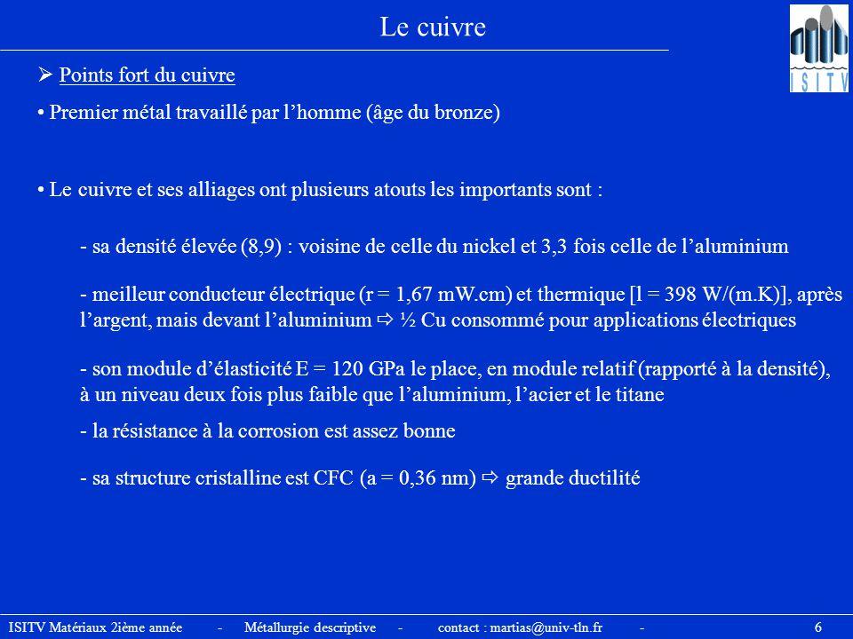 ISITV Matériaux 2ième année - Métallurgie descriptive - contact : martias@univ-tln.fr - 6 Le cuivre  Points fort du cuivre Premier métal travaillé pa
