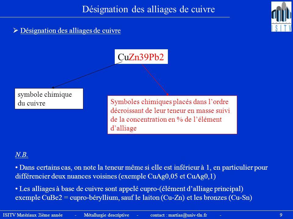 ISITV Matériaux 2ième année - Métallurgie descriptive - contact : martias@univ-tln.fr - 9 Désignation des alliages de cuivre CuZn39Pb2 symbole chimiqu