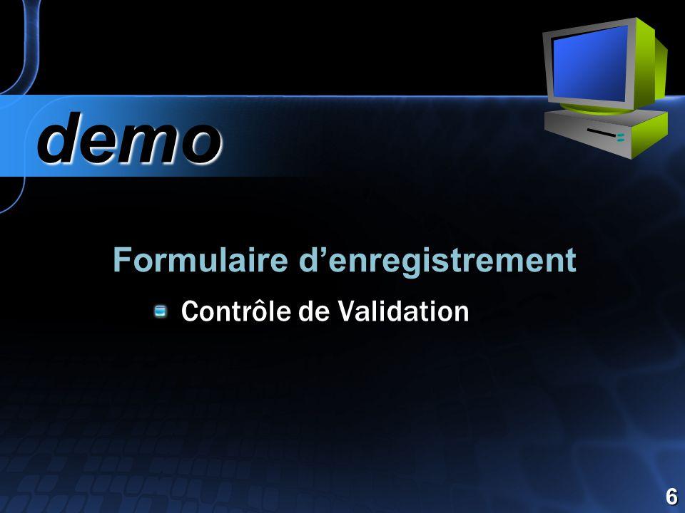 Formulaire d'enregistrement demo demo 6 Contrôle de Validation