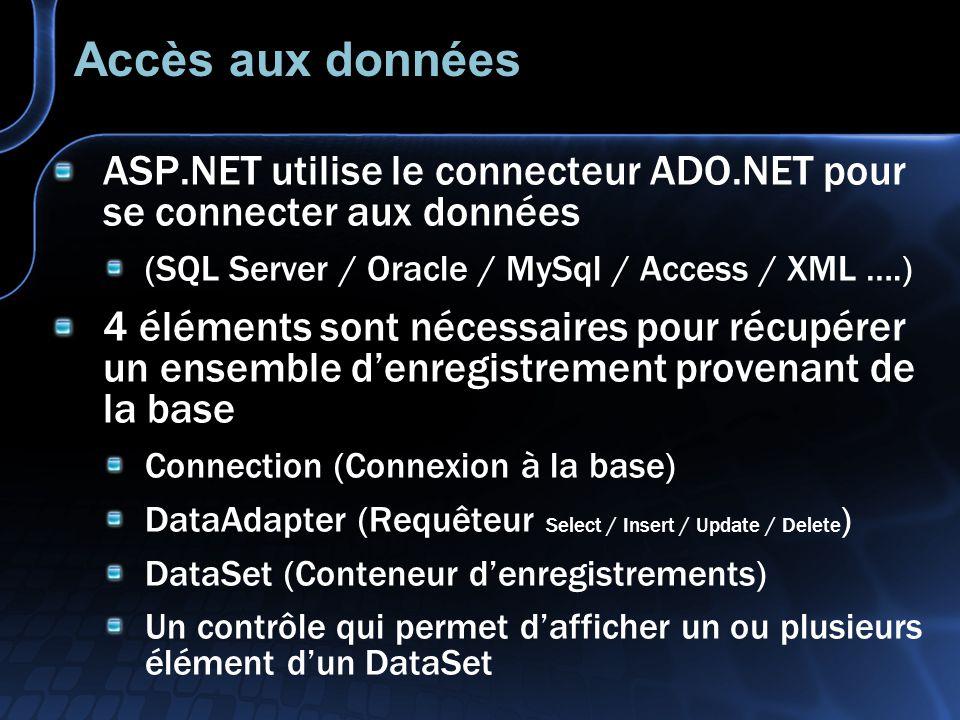 Accès aux données ASP.NET utilise le connecteur ADO.NET pour se connecter aux données (SQL Server / Oracle / MySql / Access / XML ….) 4 éléments sont nécessaires pour récupérer un ensemble d'enregistrement provenant de la base Connection (Connexion à la base) DataAdapter (Requêteur Select / Insert / Update / Delete ) DataSet (Conteneur d'enregistrements) Un contrôle qui permet d'afficher un ou plusieurs élément d'un DataSet