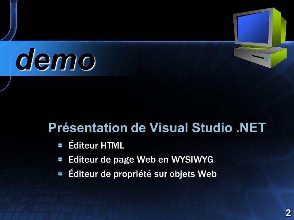Présentation de Visual Studio.NET demo demo 2 Éditeur HTML Editeur de page Web en WYSIWYG Éditeur de propriété sur objets Web
