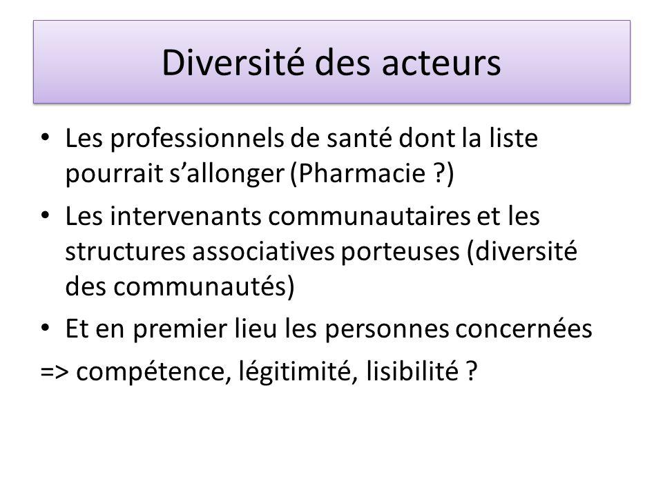 Diversité des acteurs Les professionnels de santé dont la liste pourrait s'allonger (Pharmacie ?) Les intervenants communautaires et les structures associatives porteuses (diversité des communautés) Et en premier lieu les personnes concernées => compétence, légitimité, lisibilité ?