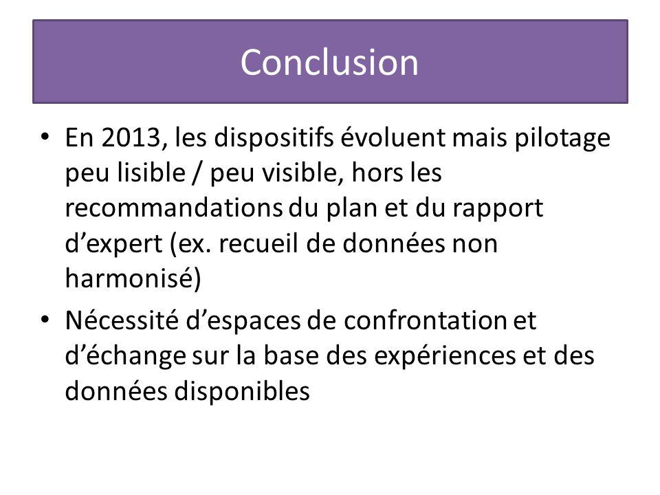 Conclusion En 2013, les dispositifs évoluent mais pilotage peu lisible / peu visible, hors les recommandations du plan et du rapport d'expert (ex.