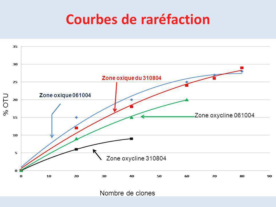 Zone oxique 061004 Zone oxique du 310804 Zone oxycline 061004 Zone oxycline 310804 Courbes de raréfaction Nombre de clones % OTU