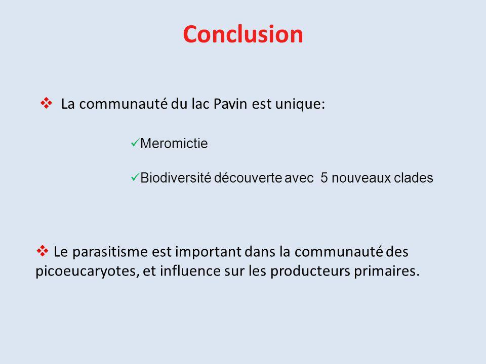 Conclusion  La communauté du lac Pavin est unique: Meromictie Biodiversité découverte avec 5 nouveaux clades  Le parasitisme est important dans la c