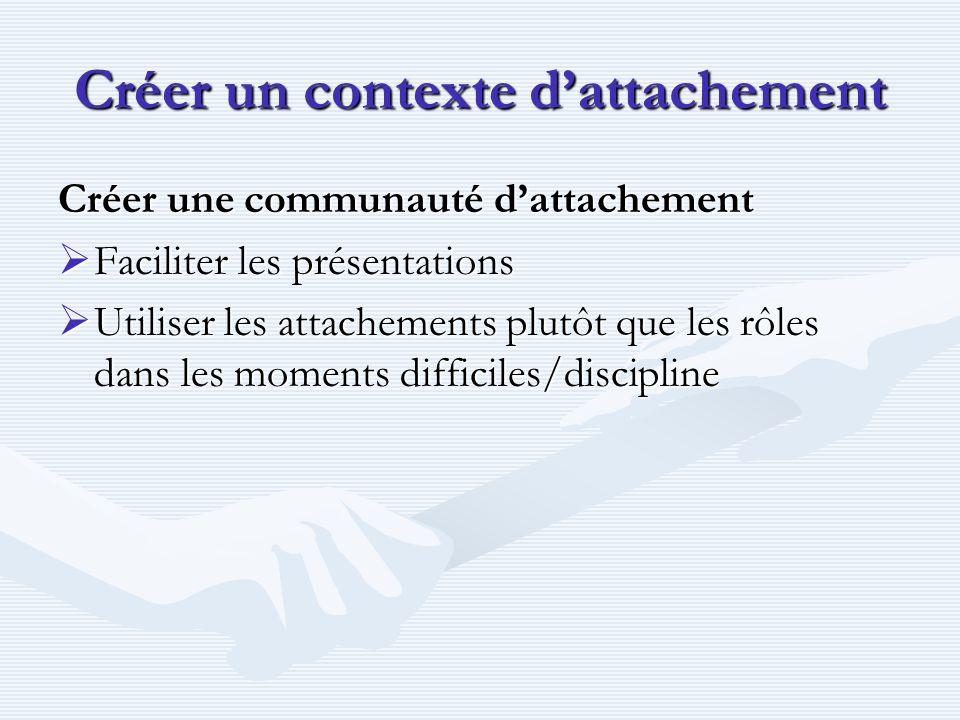 Créer un contexte d'attachement Créer une communauté d'attachement  Faciliter les présentations  Utiliser les attachements plutôt que les rôles dans les moments difficiles/discipline