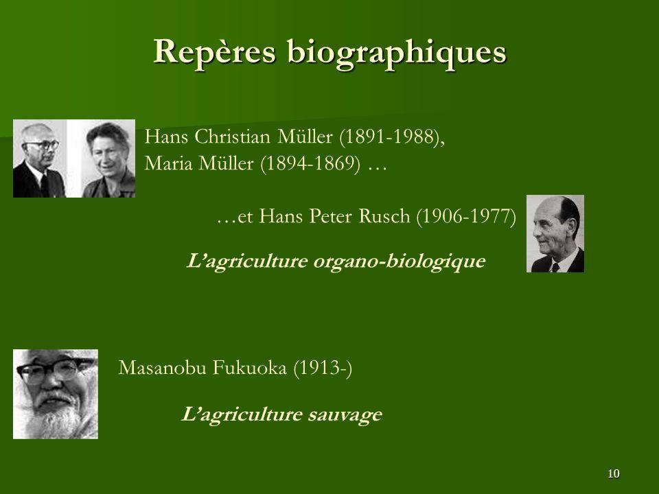 10 Repères biographiques Hans Christian Müller (1891-1988), Maria Müller (1894-1869) … …et Hans Peter Rusch (1906-1977) Masanobu Fukuoka (1913-) L'agr