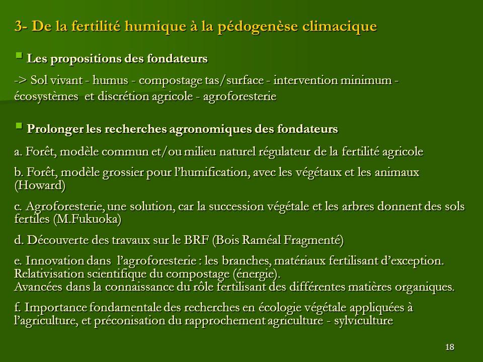 18 3- De la fertilité humique à la pédogenèse climacique  Les propositions des fondateurs -> Sol vivant - humus - compostage tas/surface - interventi