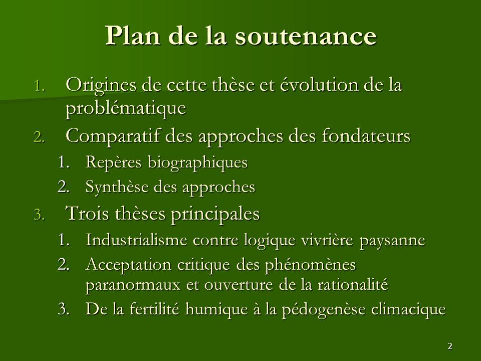 2 Plan de la soutenance 1. Origines de cette thèse et évolution de la problématique 2. Comparatif des approches des fondateurs 1.Repères biographiques