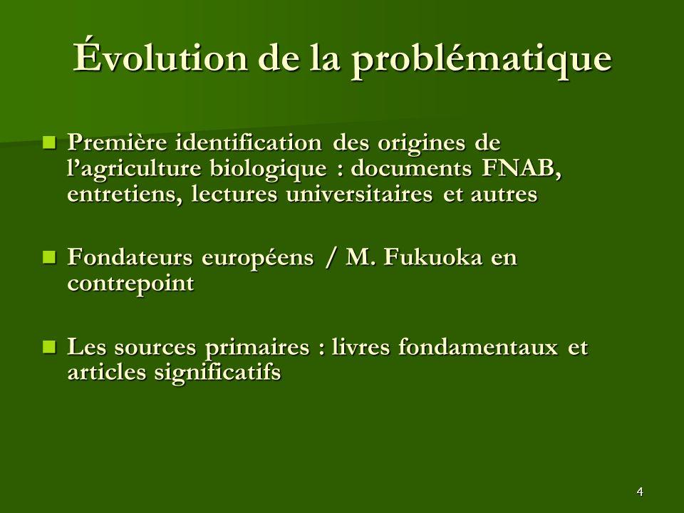 4 Évolution de la problématique Première identification des origines de l'agriculture biologique : documents FNAB, entretiens, lectures universitaires