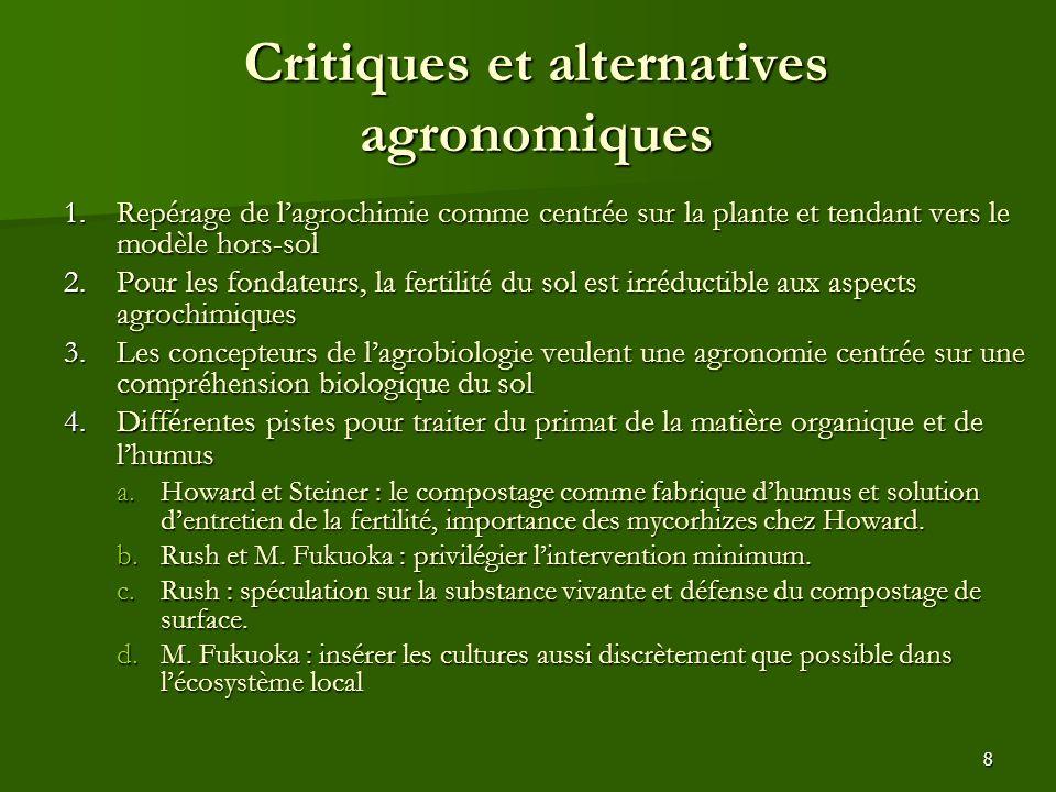8 Critiques et alternatives agronomiques 1.Repérage de l'agrochimie comme centrée sur la plante et tendant vers le modèle hors-sol 2.Pour les fondateu