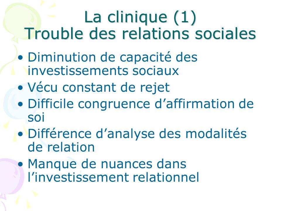 La clinique (1) Trouble des relations sociales Diminution de capacité des investissements sociaux Vécu constant de rejet Difficile congruence d'affirmation de soi Différence d'analyse des modalités de relation Manque de nuances dans l'investissement relationnel