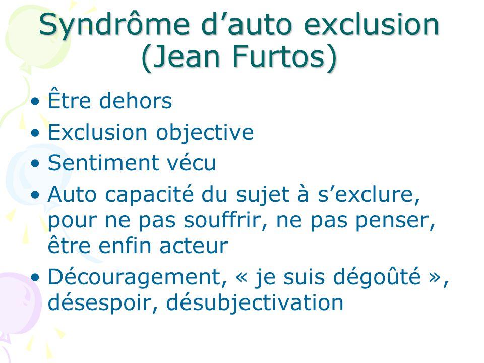 Syndrôme d'auto exclusion (Jean Furtos) Être dehors Exclusion objective Sentiment vécu Auto capacité du sujet à s'exclure, pour ne pas souffrir, ne pas penser, être enfin acteur Découragement, « je suis dégoûté », désespoir, désubjectivation