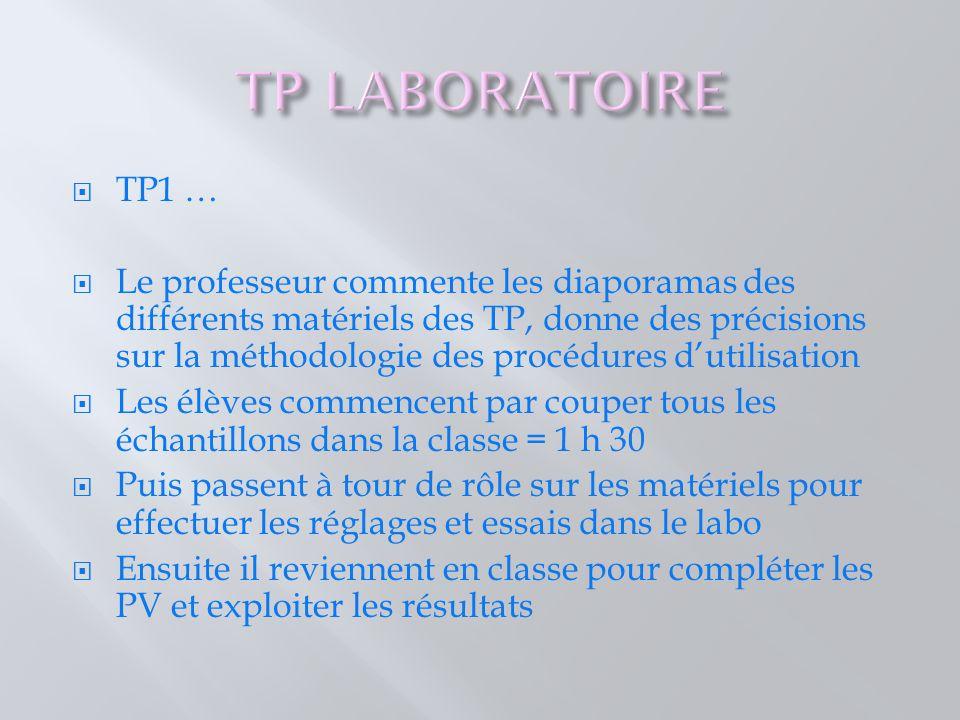 TP1 …  Le professeur commente les diaporamas des différents matériels des TP, donne des précisions sur la méthodologie des procédures d'utilisation