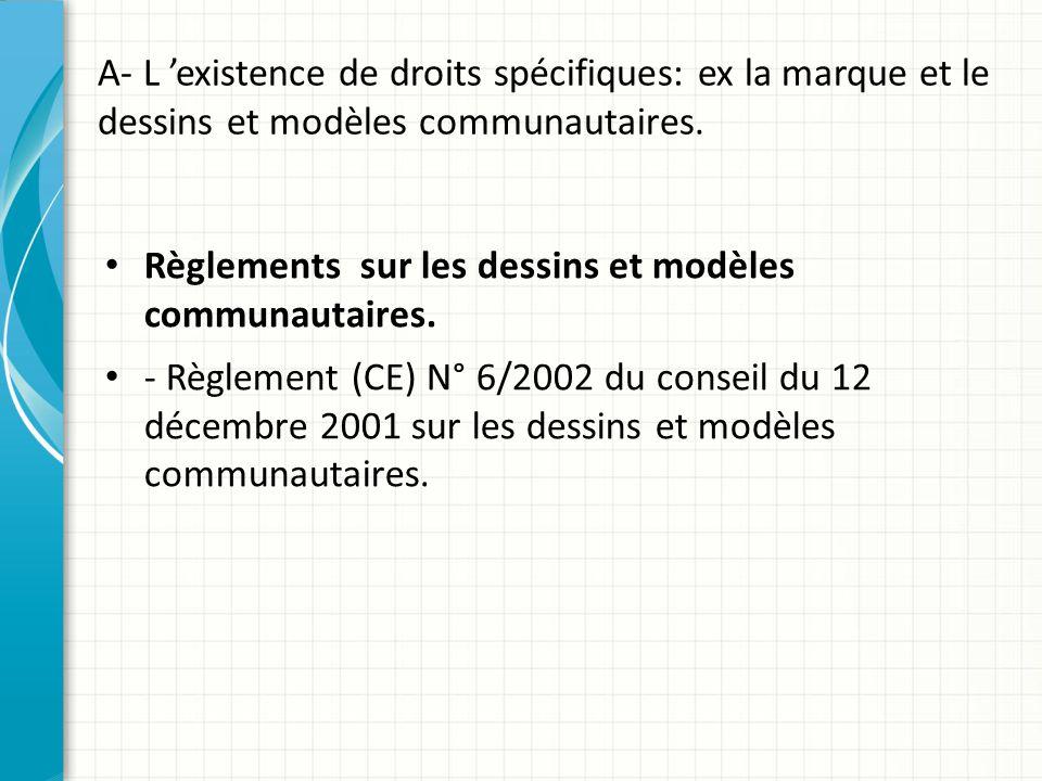 A- L 'existence de droits spécifiques: ex la marque et le dessins et modèles communautaires. Règlements sur les dessins et modèles communautaires. - R