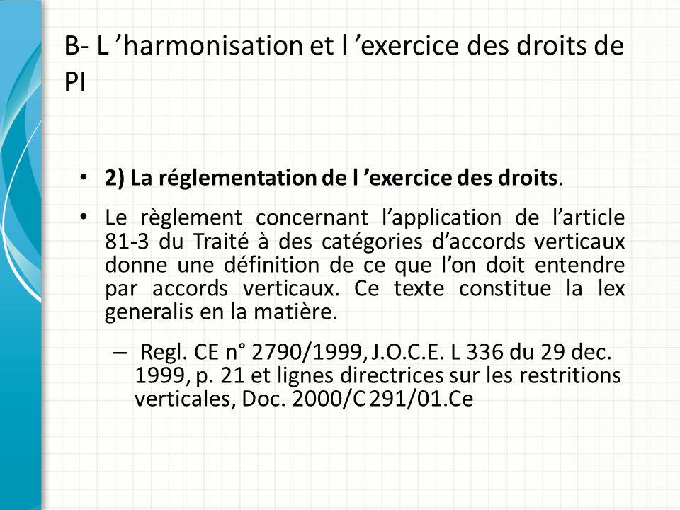 B- L 'harmonisation et l 'exercice des droits de PI 2) La réglementation de l 'exercice des droits. Le règlement concernant l'application de l'article