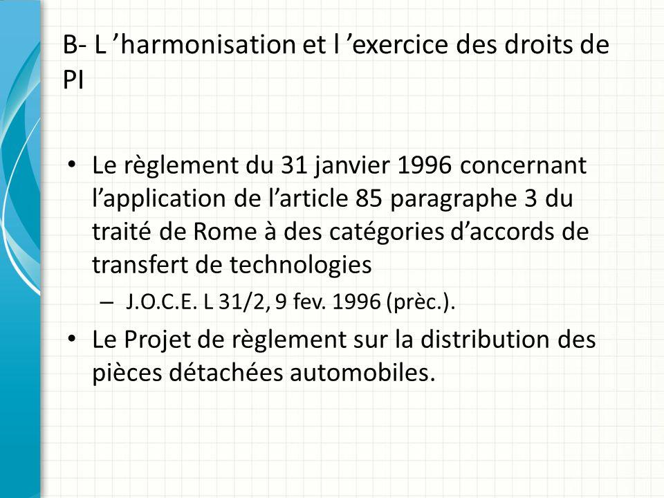 B- L 'harmonisation et l 'exercice des droits de PI Le règlement du 31 janvier 1996 concernant l'application de l'article 85 paragraphe 3 du traité de