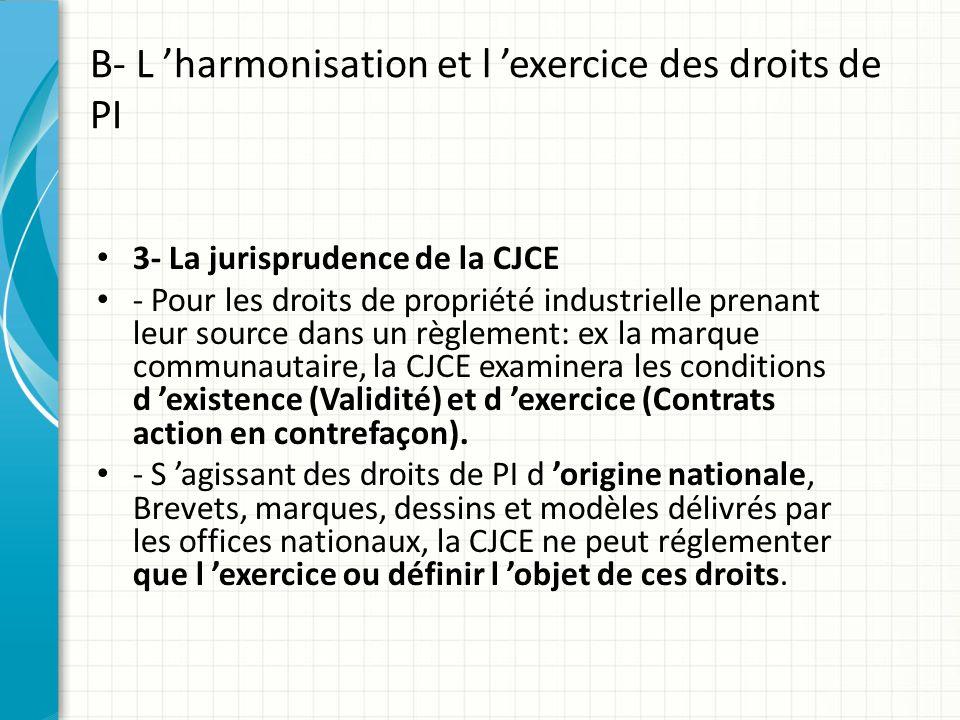 B- L 'harmonisation et l 'exercice des droits de PI 3- La jurisprudence de la CJCE - Pour les droits de propriété industrielle prenant leur source dan