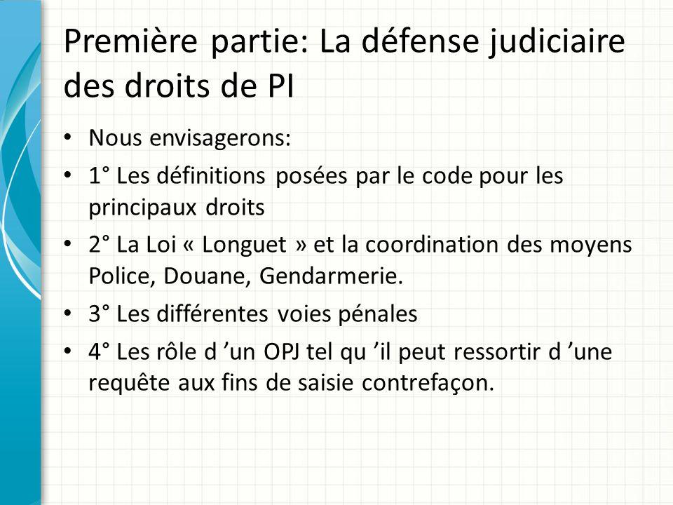 Première partie: La défense judiciaire des droits de PI Nous envisagerons: 1° Les définitions posées par le code pour les principaux droits 2° La Loi