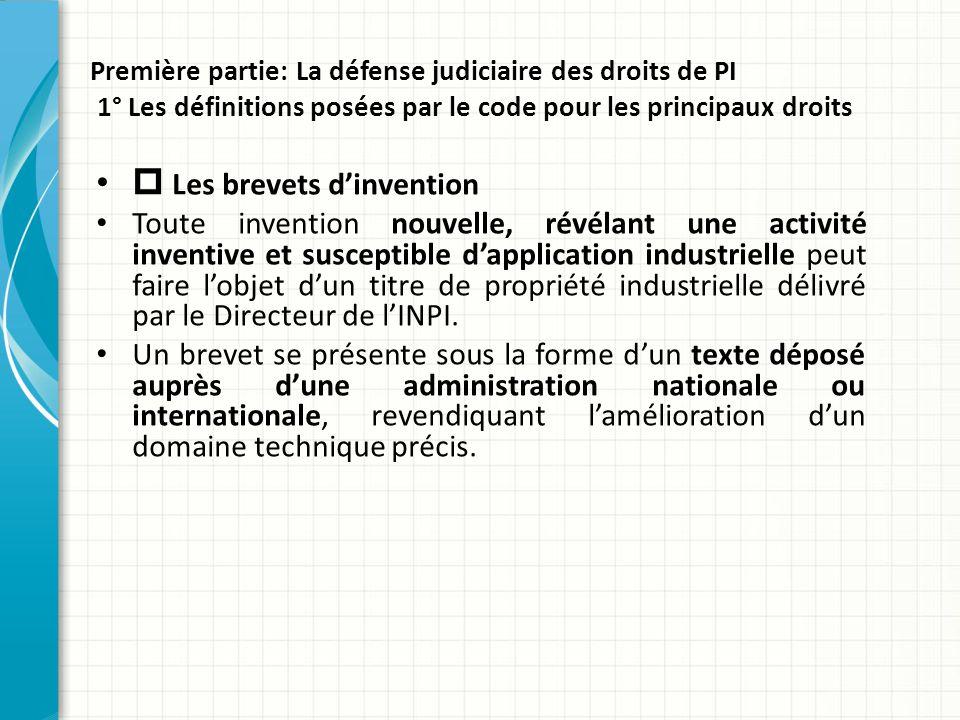 Première partie: La défense judiciaire des droits de PI 1° Les définitions posées par le code pour les principaux droits  Les brevets d'invention Tou